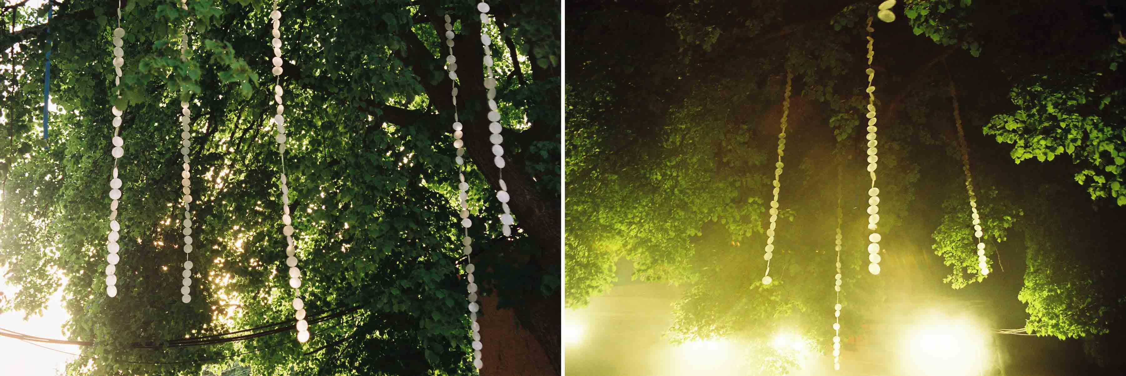 Deko Muschelkette im Baum